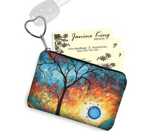 MadArt  Business Card Case Coin Purse Key Chain Small Zipper Pouch Bridesmaid Gift Key Fob Aqua Burn Blue orange tree moon RTS