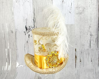 Ivory, Cream,and Gold Brocade with Medallion and Plume Large Mini Top Hat Fascinator, Alice in Wonderland, Mad Hatter Tea Party, Derby Hat