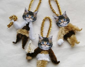 Cat Ornaments, Primitive Style Chenille Ornaments,  Victorian Ornaments, Cat Lover, (193)