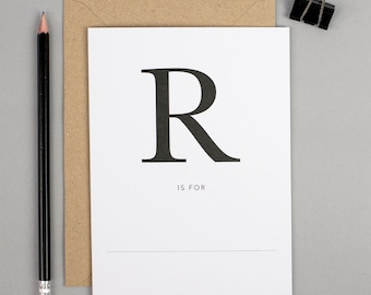 Retirement card, ready to retire, relax, r is for, personalised card, monogram