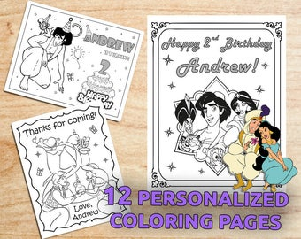 Aladdin and Jasmine Birthday Party Coloring Pages / Party favors / Personalized / Printable / Digital / PDF