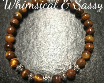 Tiger eye and silver stretch bracelet