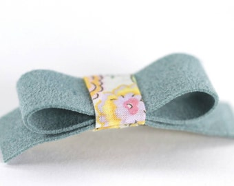 Suede Barrette, Small Hairclip, Pale Blue, Light Blue, Tiny Bow Barrette, Liberty of London, Small Hair Clip, Little Girl Bow, Girl Hair