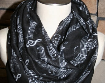 Infinity Scarf Black Musical Note Print Chunky Infinity Scarf Sheet Music Loop Scarf-Composer-Sheet Music