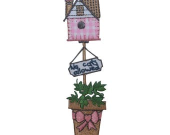 ID 3109 Bird House No Cats Allowed Patch Flower Pot Embroidered Iron On Applique