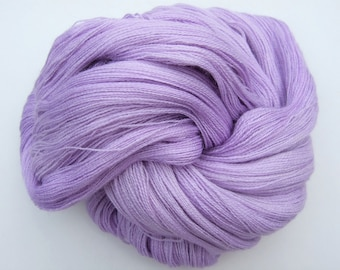 """Lace Weight Baby Alpaca luxury hand dyed yarn with extra fine Merino wool and Silk 100g """"Clematis"""" lilac, lavender, purple, mauve, tonal"""