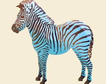 "Art Print Baby Blue Zebra. Instant Download, Printable Poster. 8"" x 10"""