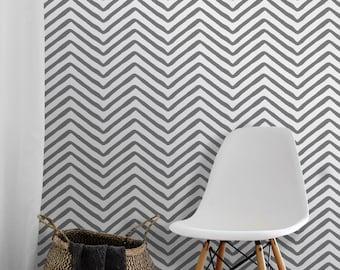 Herringbone // Charcoal Removable Peel 'n Stick Wallpaper