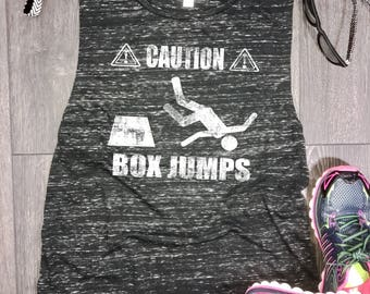 Caution box jumps muscle tank, womens flowy muscle tank, funny workout tank, muscle tank top, workout tank, gym tank top, funny gym tank