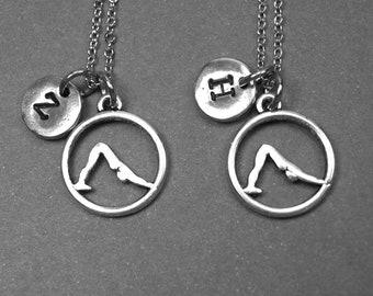 Best friend necklace, yoga necklace, yoga downward dog pose charm, initial necklace, best friend jewelry, best friend gift, initial charm