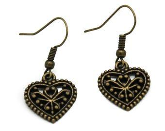 Antique Brass Heart Filigree Charm Earrings