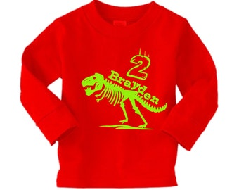 Trex Dinosaur Birthday Shirt -long sleeve personalized tshirt- any age and name - pick your colors!