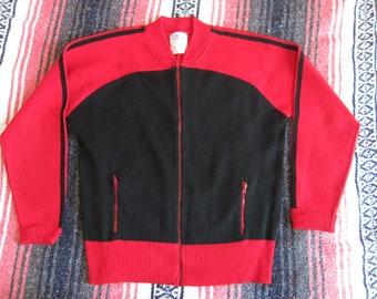 Medium / Large Campus Zipper Cardigan Sweater / Red Black, Acrylic, Zip Up, Uniform, Track Jacket