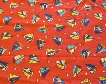 Free Shipping! Vintage Blue and Yellow Sailboats on Red. 1/2 Yard. 17115