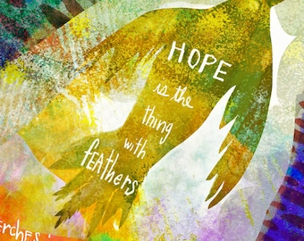 Hope is a thing with feathers by Emily Dickinson Illustrated poem ... giclee art print ... various sizes • bird • poetry • handletter • gift