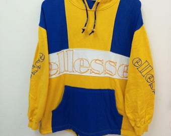 Vintage ELLESSE Perugia Italia//Sweatshirt Hoodie//Color Block Embroidered Spellout//Size L