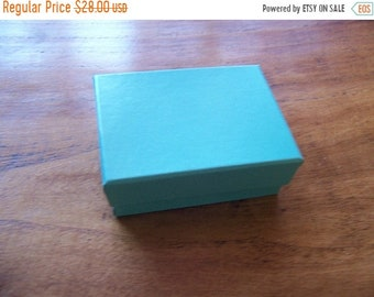 TAX SEASON Stock up 100 Pack of 3.25X2.25X1 Inch Size Teal Cotton Filled Jewelry Gift Merchandise Boxes