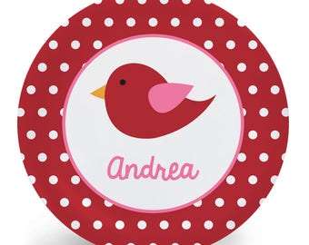 Personalized Plate for Kids - Red Bird Plate - Child's Bowl - Melamine Plate Bowl Placemat Mug Custom Personalized with Child's Name