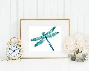 Dragonfly Decorations Button Art Dragonfly 8x10 Button Art Buttons Swarovski Flatback Rhinestones Teal, Aqua, Turquoise, Blue, Dragonfly