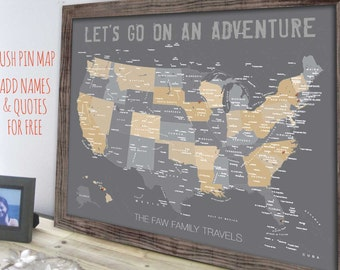 Usa travel map etsy usa map map of united states family travel decor framed map rustic gumiabroncs Choice Image