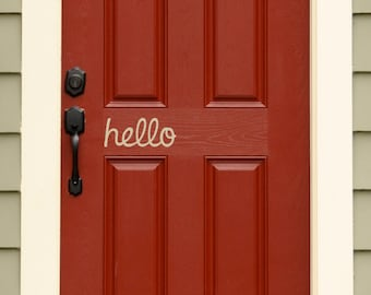 Hello Door Decal - Front Door Decal - Handwritten style - Wall Sticker