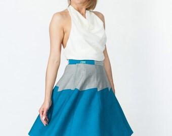 Wrap Around Waist Cotton Blue Skirt Coolawoola  Short Skirt All Sizes