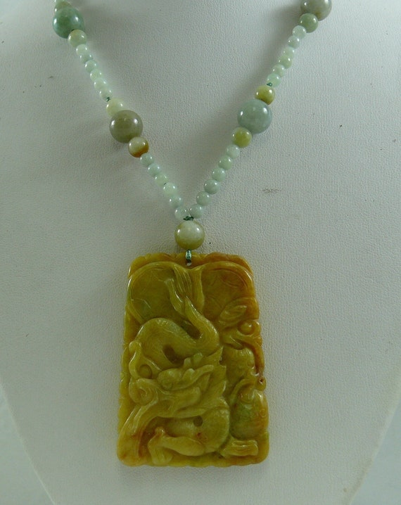 Jade Multi-Color Necklace with Jade Pendant