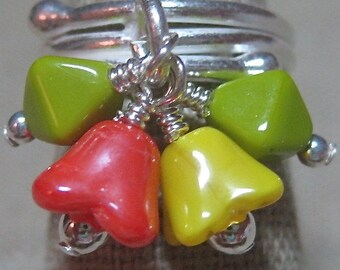 Window Box Czech Glads Flower Bells in Bright Green, Orange & Yellow Cluster Ring - R150