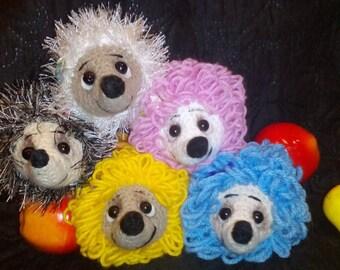 Colorful Hedgehog soft toy handmade Amigurumi gift.   Pocket toy Hedgehog.