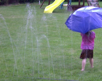 Water Wall sprinkler water toy for waterpark splash play for kids and their dogs in the backyard.