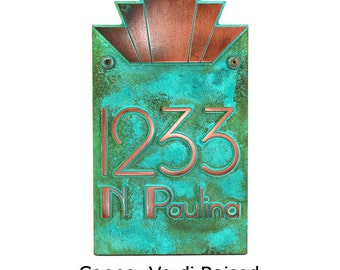 """Modern Art Deco Address Numbers Plaque - 10.5""""w x 18.5""""h x 1"""" - 4 numbers Made in USA by Atlas Signs and Plaques"""