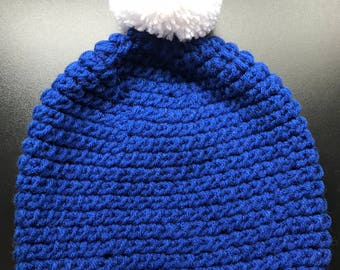Super Slouchy Dark Blue Crochet Hat