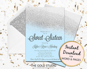 Instant Download Sweet 16 blue silver glitter invitation sweet sixteen editable template elegant editable in word and pages on PC and Mac