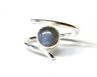 Blue Flash Labradorite Adjustable Ring