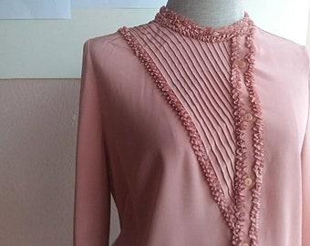 Salmon Pink Blouse - Tiny Ruffle Pink Blouse - Secretary Blouse - Japanese Vintage Top - S - M