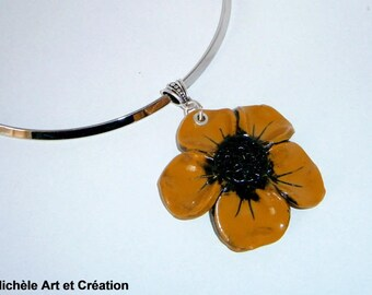 mustard and black polymer clay flower pendant