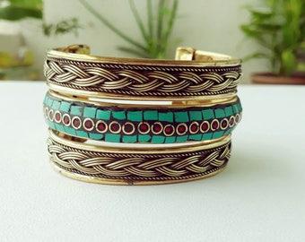 Turquoise Gold Bracelet/ Tibetan Bracelet/Brass Cuff Bracelet/Trendy Bracelet/Wedding  Bracelet/Cuff Bracelet.