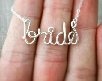 Wire Wrap Bride Necklace, Bachelorette Party, Bridal Shower Ideas, Bride to be, Bride Favor, Bride Gift, Batchelorette Necklace, Bride Tribe