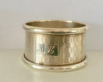 Sterling silver napkin ring with engraced initials MM
