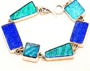 Dichroic Glass Bracelet With Various Shades Of Blues And Accents of Green