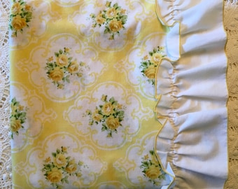 Tastemaker Cameo Rose in Yellow - Twin Flat Sheet - Yellow Roses - Beautiful Yellow Rose Bedding - Pillowcases Unused NOS