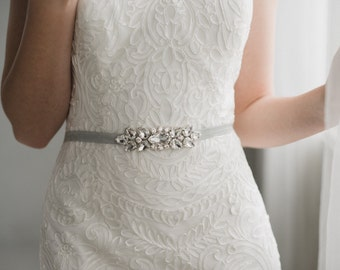 Silver Bridesmaid Belt Sash | Silver Rhinestone Sash | Small Crystal Sash Belt | THE VERA