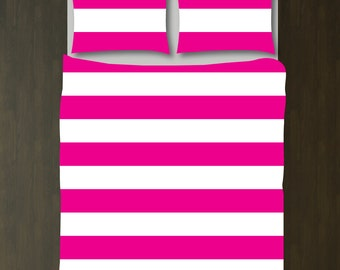 Custom Rugby Striped Duvet Bedding Set-Hot Pink and White-Customize Colors You Want-Daybed-Twin XL-Full/Queen-King-Preppy Home Decor-Size