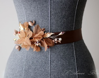 Chocolate Brown Fabric Flowers Ribbon Sash Belt - Bridal Champagne, Beige, Pearls, Crystals, Vintage Wedding Dress Sashes Belts