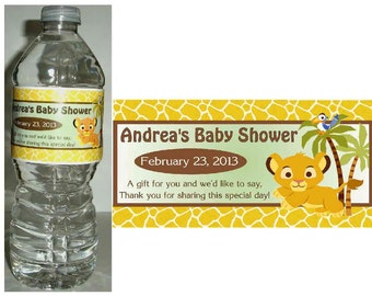 20 LION KING SIMBA Baby Shower favors water bottle labels ~ glossy ~ waterproof ink