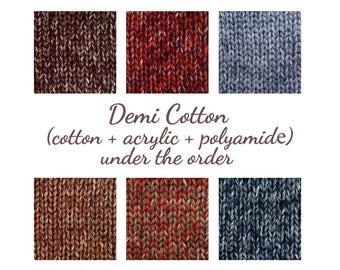 Cotton yarn, cotton with acrylic, melange yarn, demi-season yarn, red yarn, blue yarn, yarn under the order, crochet yarn, yarn for weaving