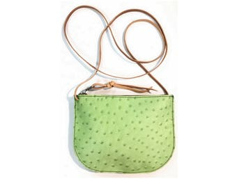 PRICKLY PEAR CROSSBODY • Green Prickly Pear Bag • Ostrich Embossed Zipper Bag • Texas Hill Country