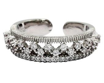 Dense micro-inlay crystal silver ring