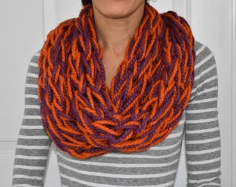 Arm Knitted Infinity Scarf. Fall Scarf. Handmade Wool Scarf. Orange Purple Scarf. Football Season. Fall Accessory. Gift For Her. Under 30.