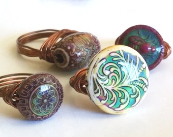 Bohemian Life Colour Changing Copper Wire Mirage Statement Rings